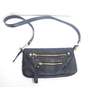 Linea Pelle black leather crossbody handbag